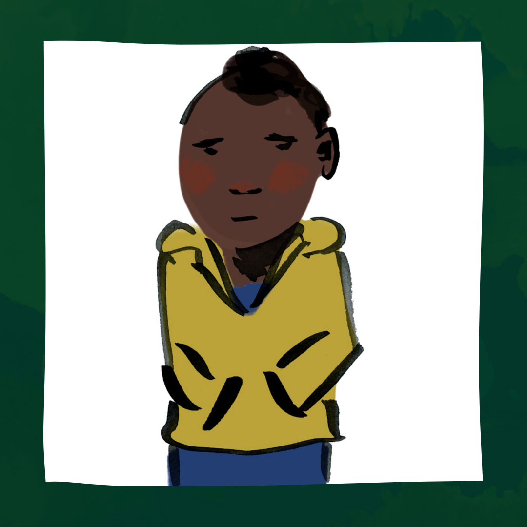 Georgie, a person with brown skin and dark hair, is in a yellow sweatshirt and blue pants. Their hands are in their pockets, and they are facing forward with a concerned expression on their face.
