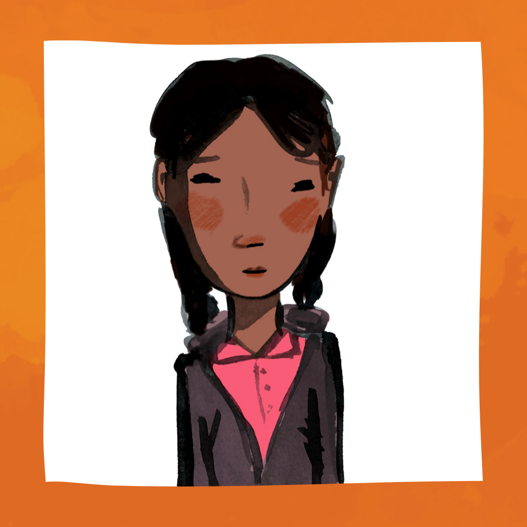A portrait of Mizba, a young girl with brown skin and black hair twisted into two braids. Mizba has rosy cheeks, and is wearing a pink shirt under a gray sweatshirt.