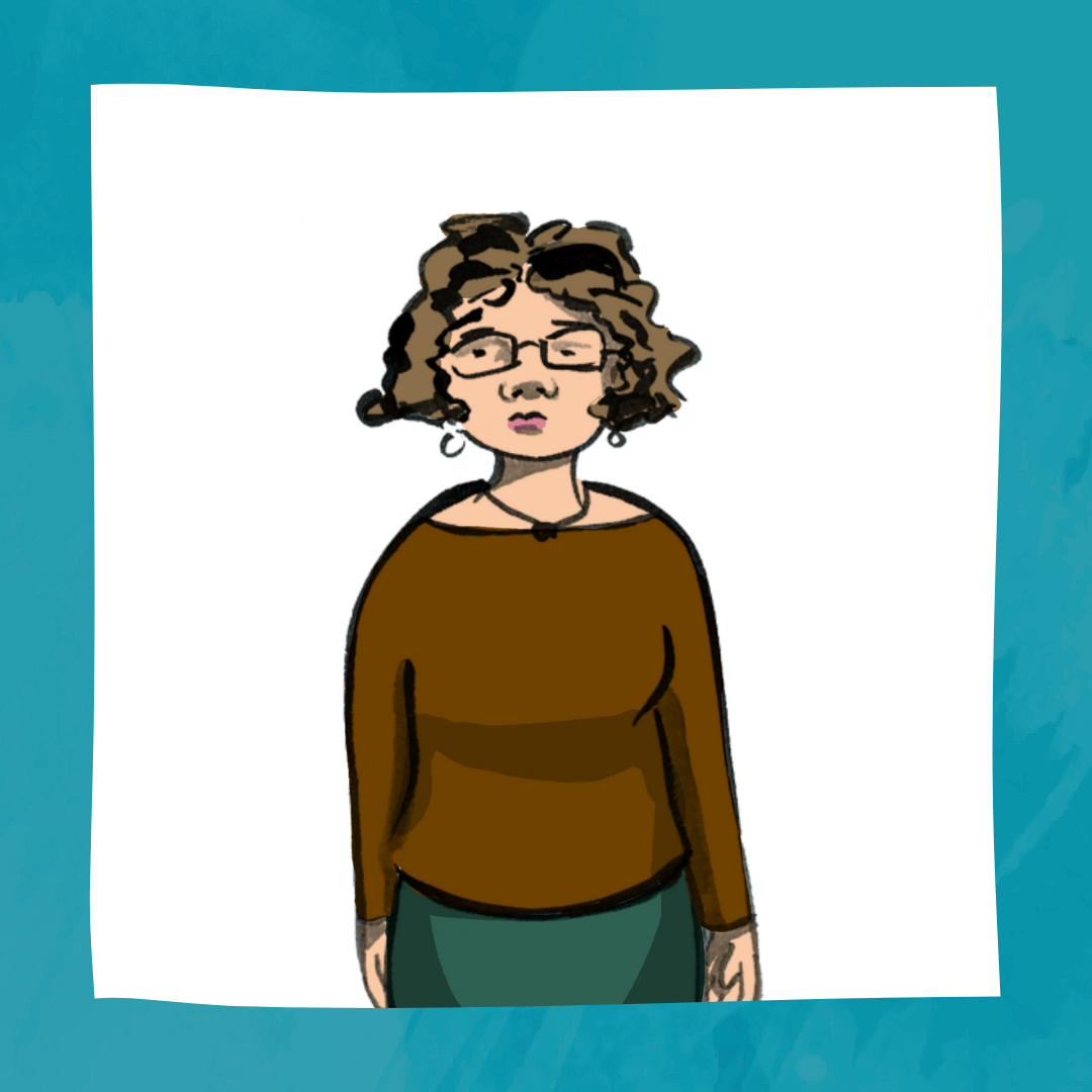 "Portrait of Jenny, a 53 year old woman with curly hair and glasses. Jenny is wearing a brown shirt and green skirt. The bottom of the portrait says, ""Sensory Awareness. Character Artwork created by Jacina Sweeting Read"""