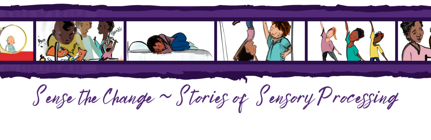 A banner showing multiple illustrated pictures of the characters in the sensory awareness month stories.